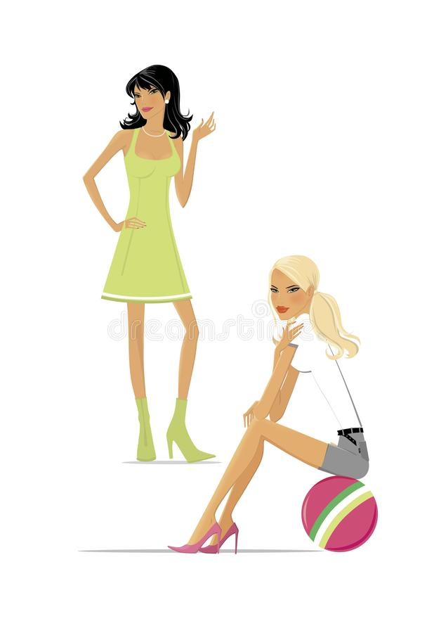 Weight loss. Slender brunette in a green dress and blonde sitting on the ball. Isolated on white background stock illustration
