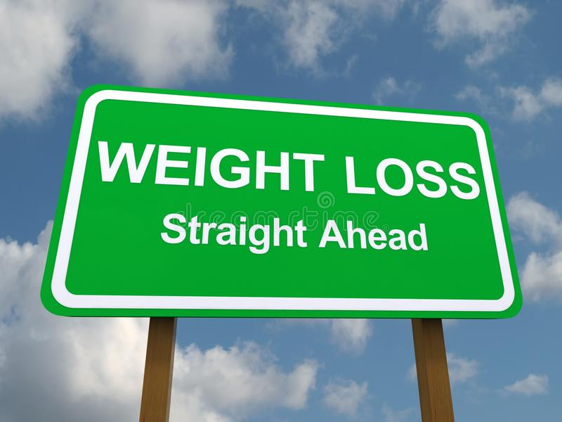 Weight loss straight ahead sign. Green weight loss straight ahead sign with blue sky and cloudscape background stock illustration
