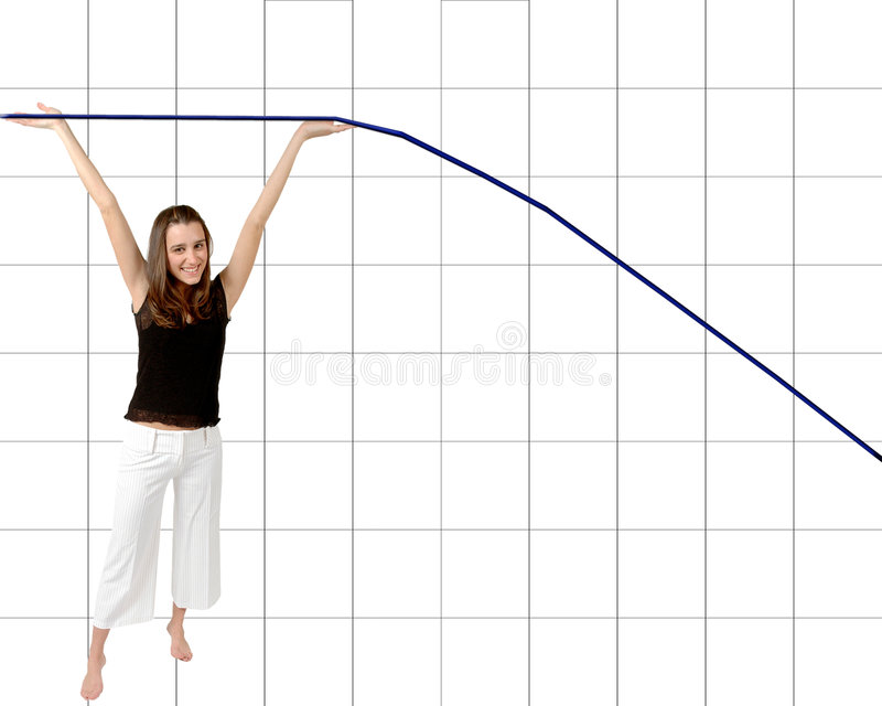 Weight Loss success. Woman holds up the graph where her weight use to be and now the line dips down to how much she has lost. Vertical and horizontal line graph stock photography