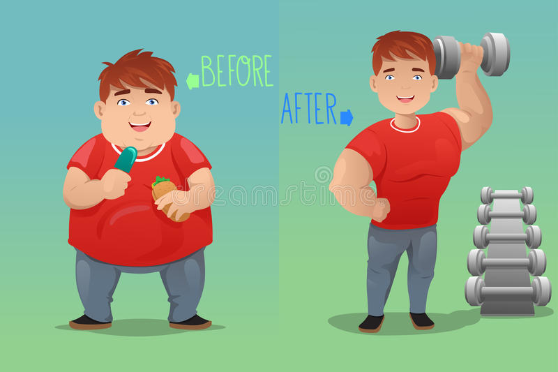 Before and after: weight loss. A vector illustration of weight loss concept of a man before and after diet vector illustration