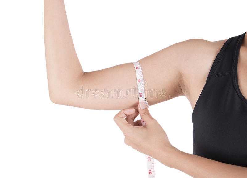 Weight loss woman arm with hand measuring waist. Isolated on white background. Photography in studio royalty free stock photo