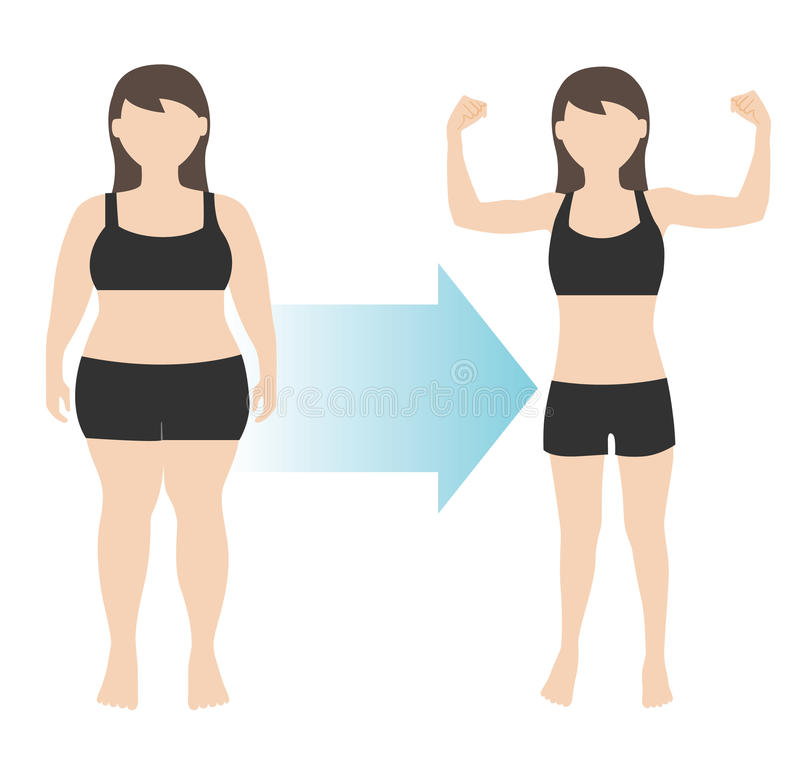 Free Weight Loss Woman Body Transformation Fat To Fit Stock Image - 60145691