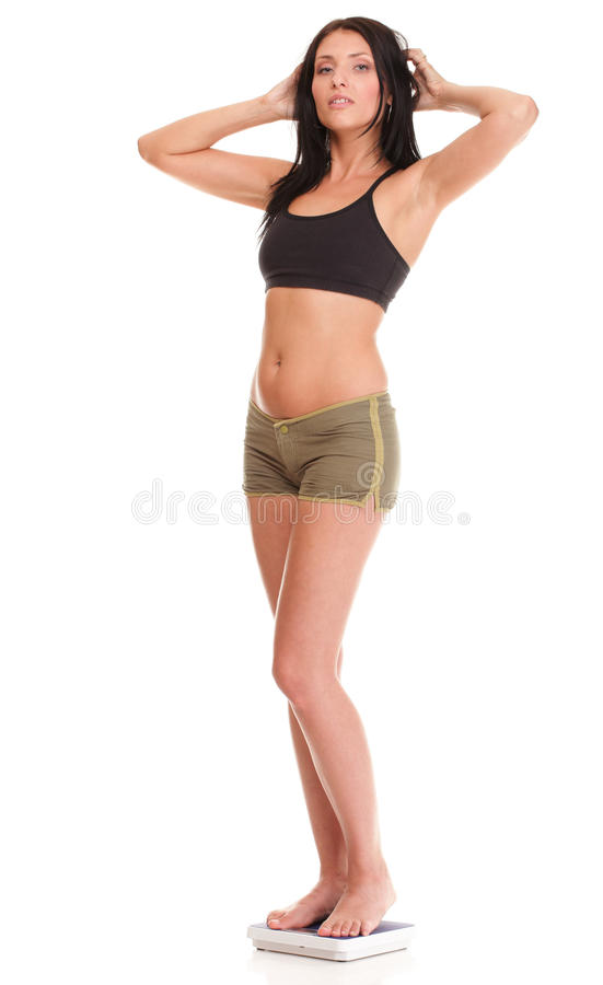 Download Weight Loss Woman On Scale Happy Stock Image - Image: 28243589