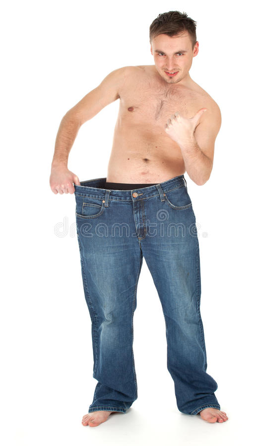 Download Weight lost man thumb up stock photo. Image of naked - 18607098