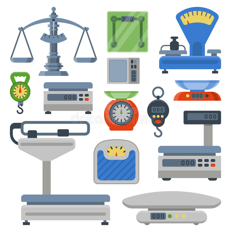 Weight measurement instrumentation tools vector illustration stock illustration