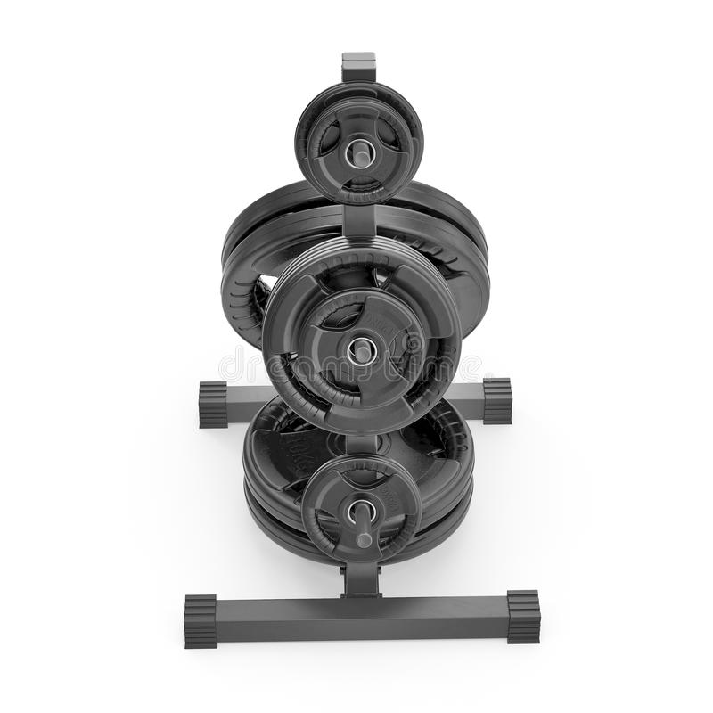 Weight Plate Tree on white. 3D illustration royalty free illustration