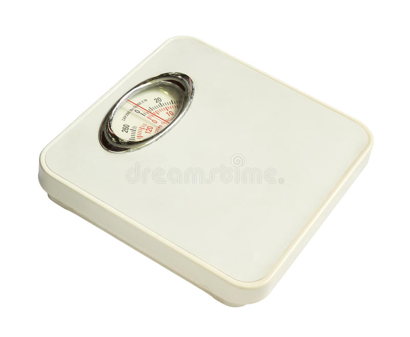 Weight scale. Old weight scale isolated on white background royalty free stock photos