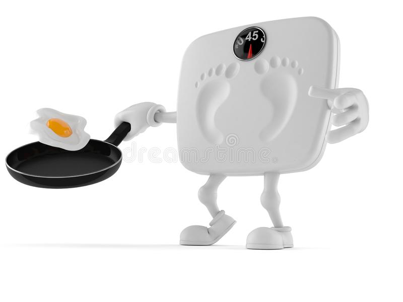 Weight scale character holding frying pan. Isolated on white background. 3d illustration stock illustration