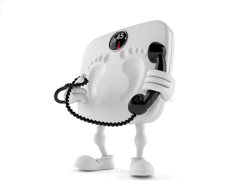 Weight scale character holding a telephone handset. Isolated on white background. 3d illustration vector illustration