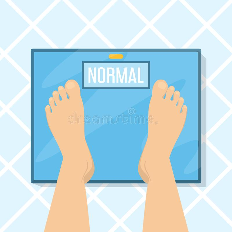 Weight scale and foot top view. Bathroom floor, control royalty free illustration