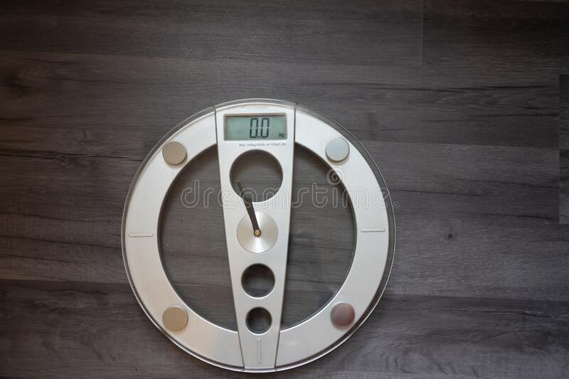 Weight scale isolated at home with copy space.  stock photography