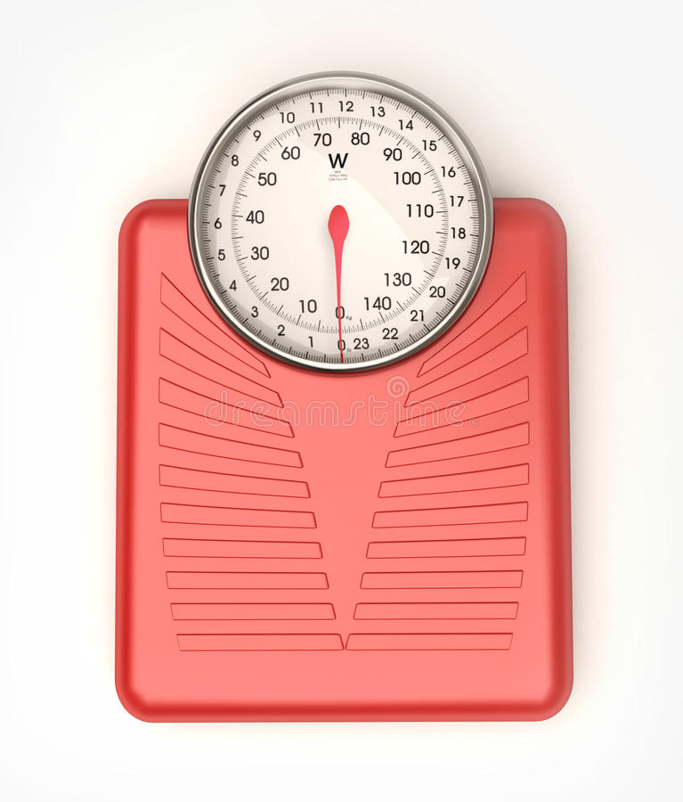 Weight scale red. 3D rendering of a blue weight scale stock images