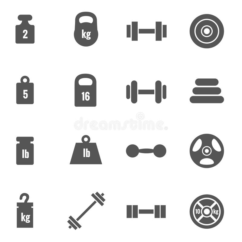 Weight vector icons royalty free illustration