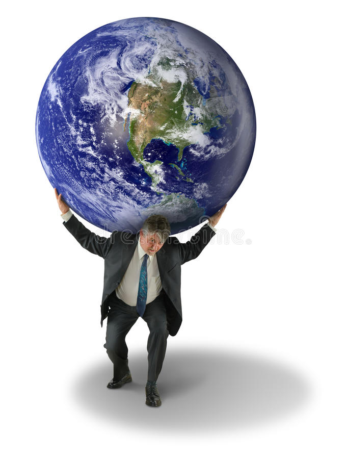 Weight of the World Man with Earth on Shoulders. A man in a business suit is struggling with the weight of the world on his shoulders representing stress, being royalty free stock images