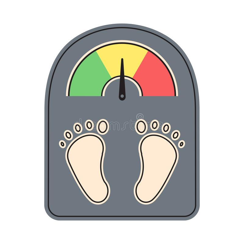 Weighting machine with scale and foot print. Vector stock illustration