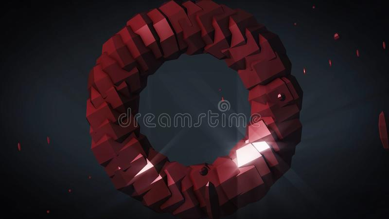 Weightlessness. Rotating torus on black background. 3D computer generated geometric animation. Illustration of an stock illustration