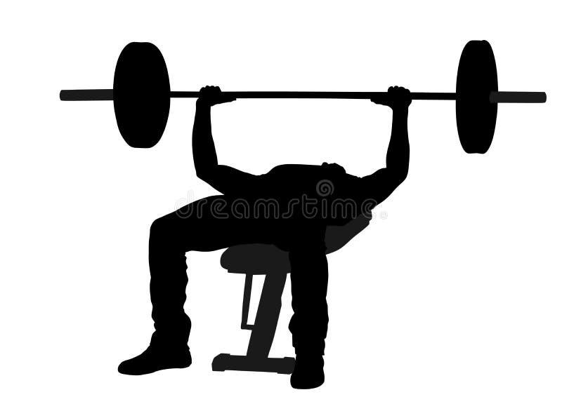 Weightlifter στη σκιαγραφία γυμναστικής Bodybuilder στην κατάρτιση διανυσματική απεικόνιση