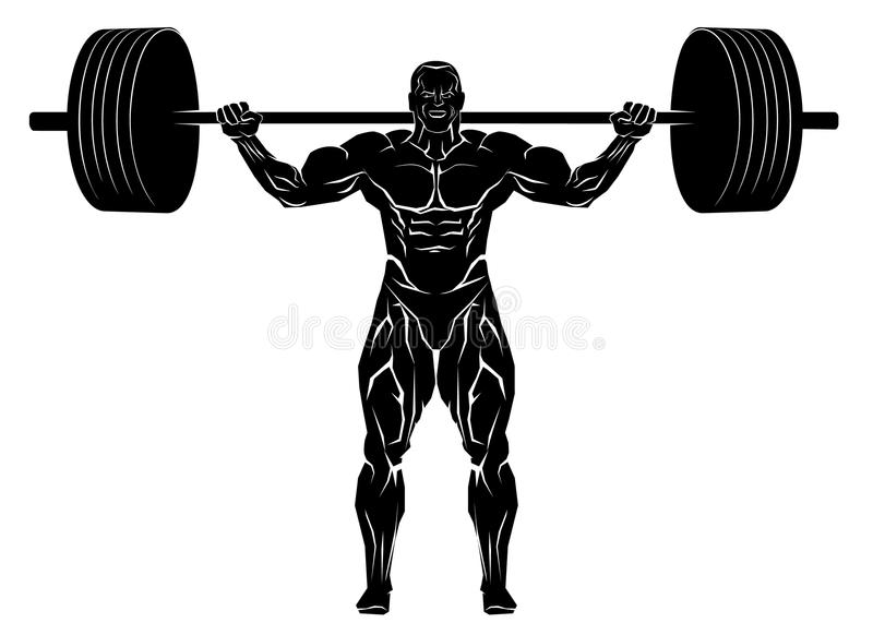 Weightlifter with barbell royalty free illustration