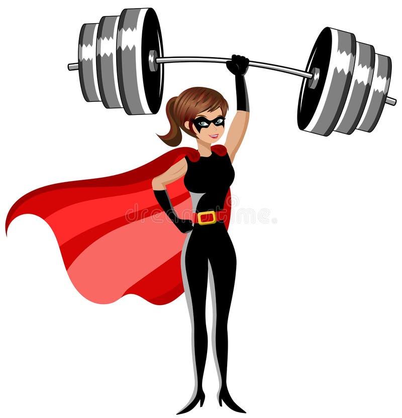 Weightlifter de la mujer del super héroe que levanta pesos pesados sobre la cabeza aislada libre illustration