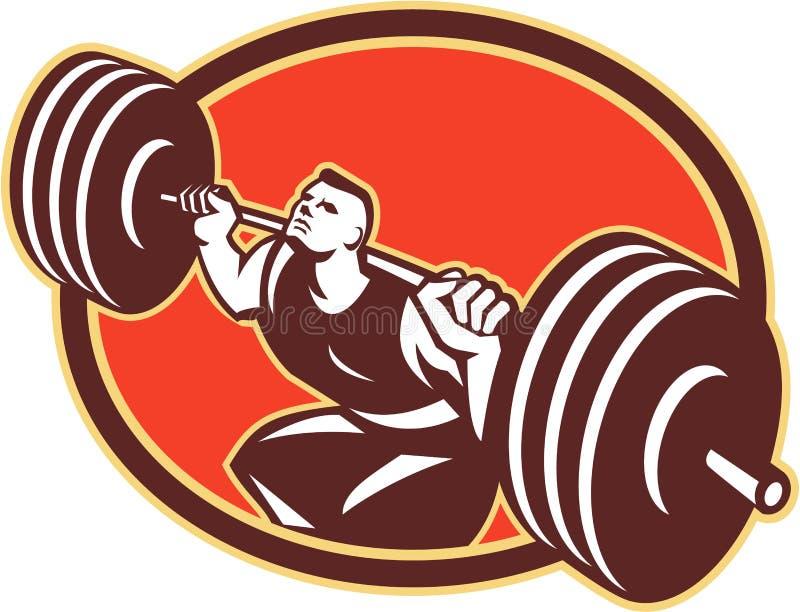 Weightlifter die Retro Barbells opheffen vector illustratie