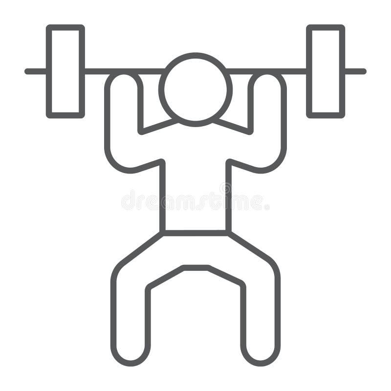Weightlifter dun lijn pictogram, sport en het bodybuilding, gewichtheffenteken, vectorafbeeldingen, een lineair patroon op een wi stock illustratie