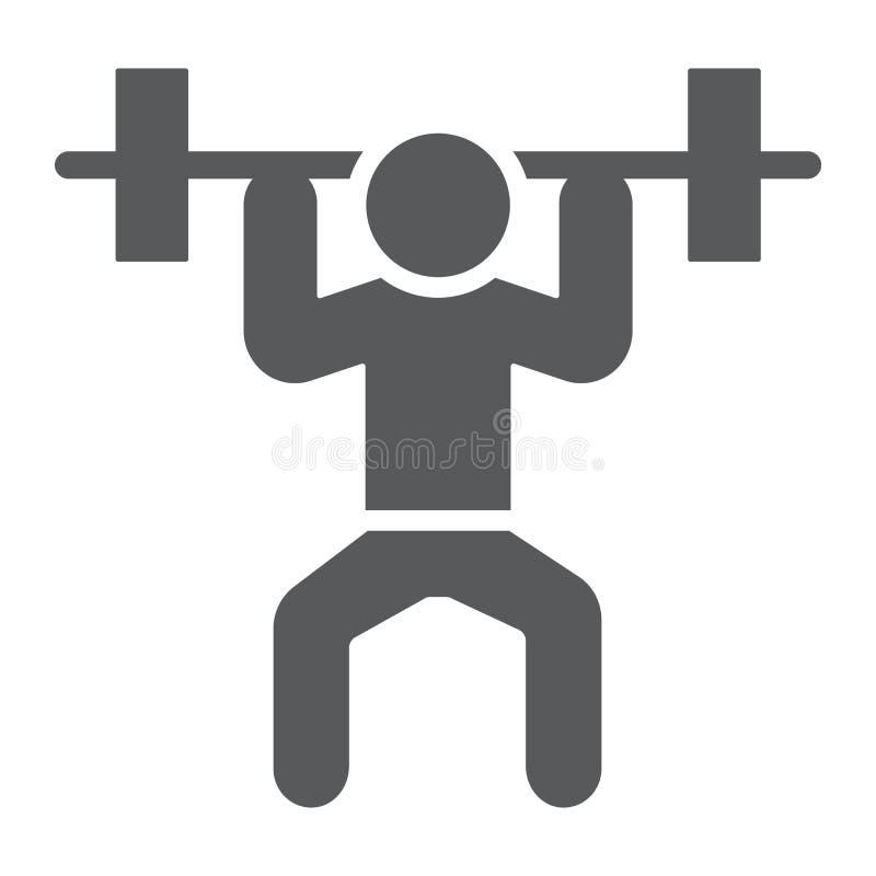 Weightlifter Glyphikone, Sport und Bodybuilding, Gewichthebenzeichen, Vektorgrafik, ein festes Muster auf einem weißen lizenzfreie abbildung