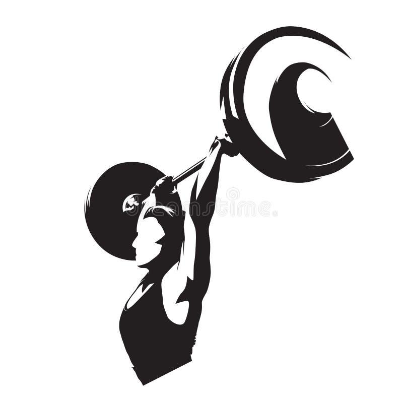 Weightlifter kobieta, silna dziewczyna podnosi dużego barbell Odosobniona wektorowa sylwetka Weightlifting sprawności fizycznej l ilustracji