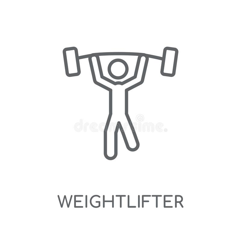 Weightlifter linear icon. Modern outline Weightlifter logo conce vector illustration