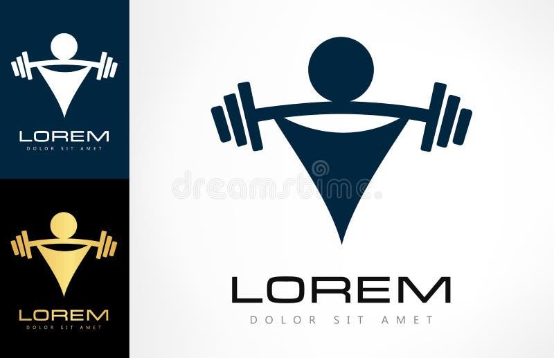 Weightlifter med en skivstång Tyngdlyftninglogo Kroppsbyggaresymbol royaltyfri illustrationer