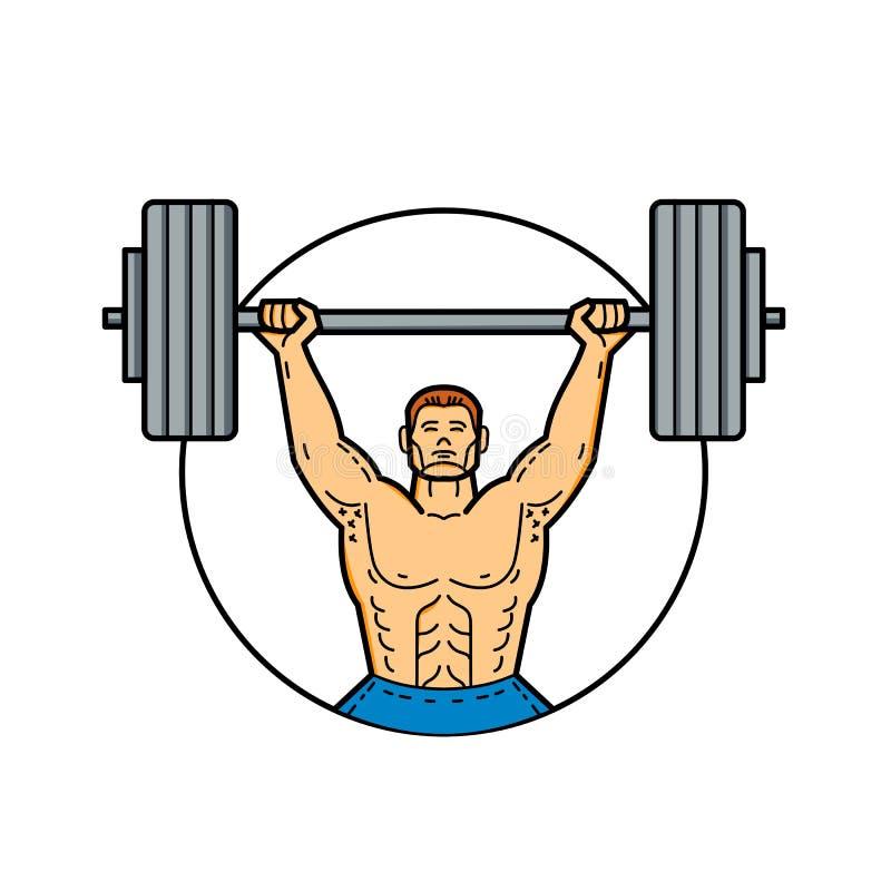 Weightlifter Podnośnego Barbell Mono Kreskowa sztuka ilustracja wektor