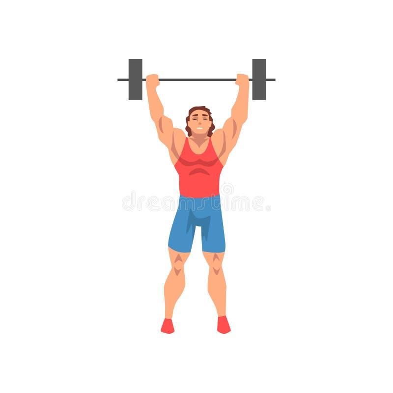Weightlifter Powstający Barbell, Męski atleta charakter w sporta mundurze, Aktywnego sporta styl życia Zdrowy wektor royalty ilustracja