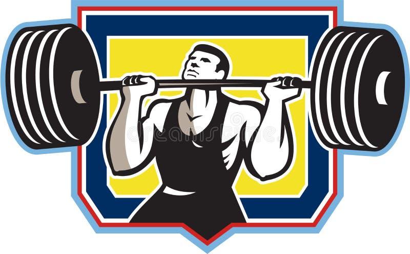 Weightlifter que levanta el Barbell pesado retro libre illustration