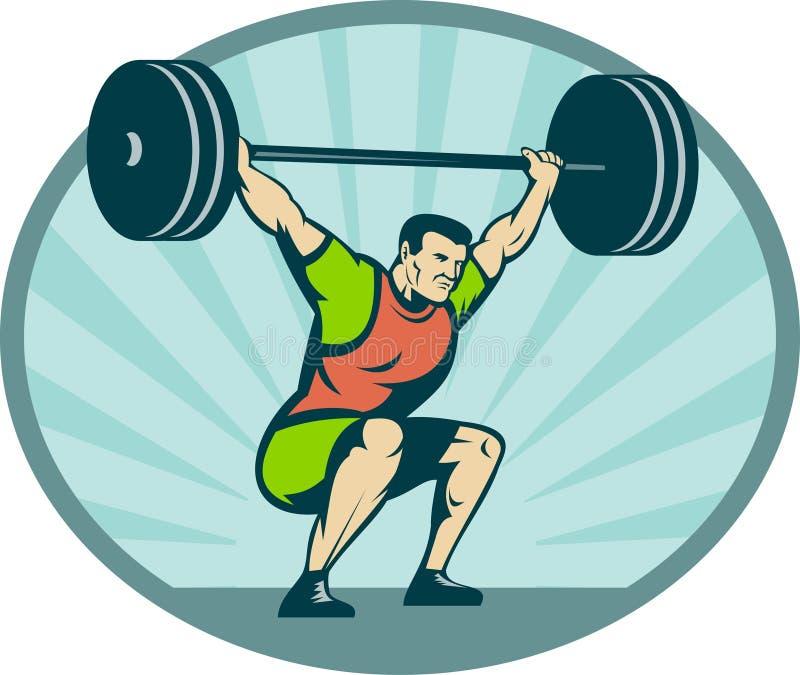 Weightlifter que levanta pesos pesados ilustración del vector
