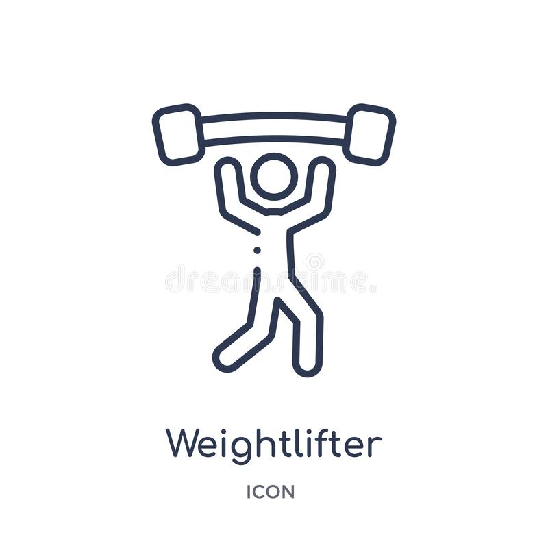 Weightlifterikone von der Entwurfssammlung der Olympischen Spiele Dünne Linie Weightlifterikone lokalisiert auf weißem Hintergr vektor abbildung
