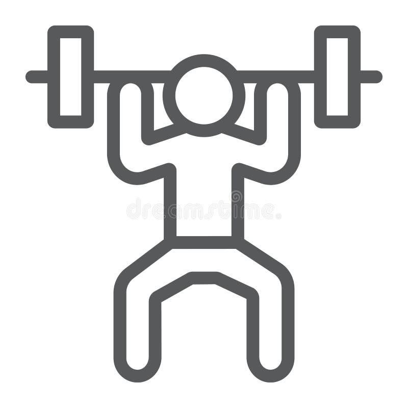 Weightlifterlinie Ikone, Sport und Bodybuilding, Gewichthebenzeichen, Vektorgrafik, ein lineares Muster auf einem weißen stock abbildung