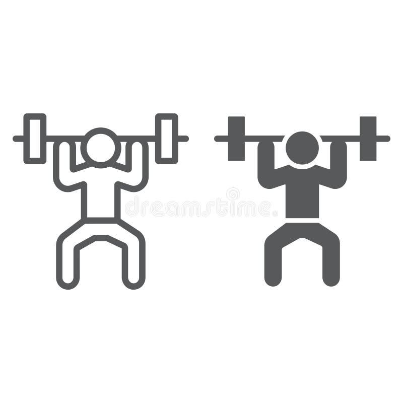 Weightlifterlinie und Glyphikone, Sport und Bodybuilding, Gewichthebenzeichen, Vektorgrafik, ein lineares Muster auf a lizenzfreie abbildung