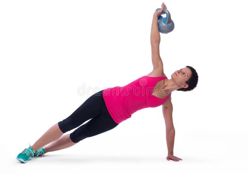 Weightlifting με το κατσαρόλα-κουδούνι στοκ εικόνες με δικαίωμα ελεύθερης χρήσης