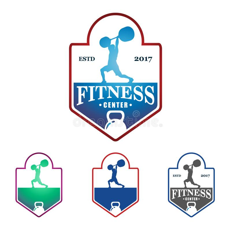 Weightlifting Fitness Gym Vector Logo Template royalty free illustration