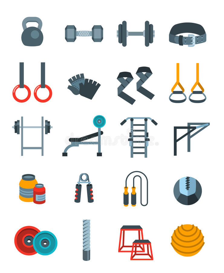 Download Weightlifting Flat Vector Icons Set Stock Vector - Illustration of active, bench: 83713701