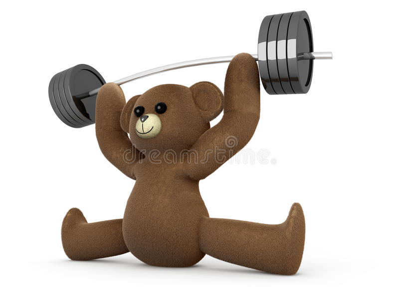 Download Weightlifting miś pluszowy ilustracji. Ilustracja złożonej z biznes - 28963357