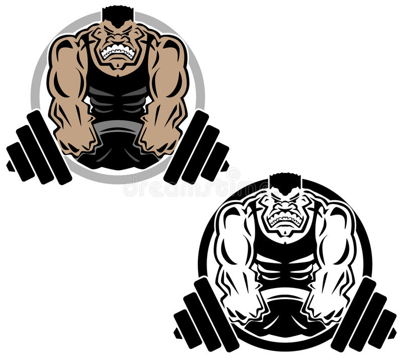 Weightlifting Muscle Fitness Gym Logo Illustration. Sharp clean illustration of man lifting heavy weights, bent barbell, large muscles, both as a black line vector illustration