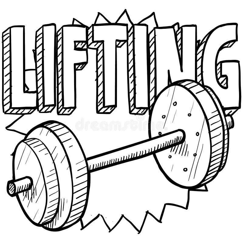 Weightlifting nakreślenie ilustracji
