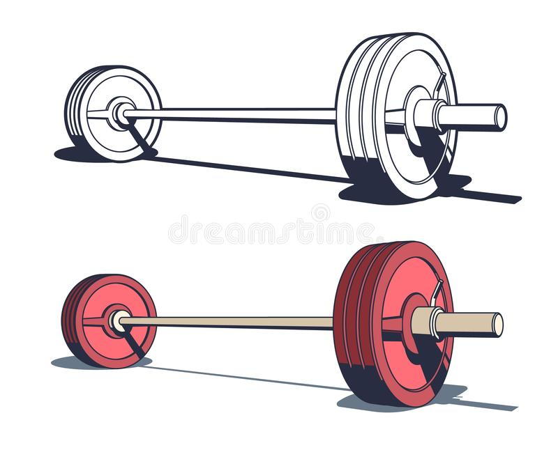 Weightlifting powerlifting or bodybuilding barbell royalty free illustration