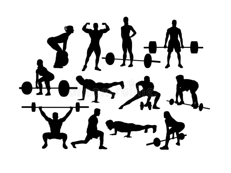 Weightlifting Silhouettes, art vector design vector illustration
