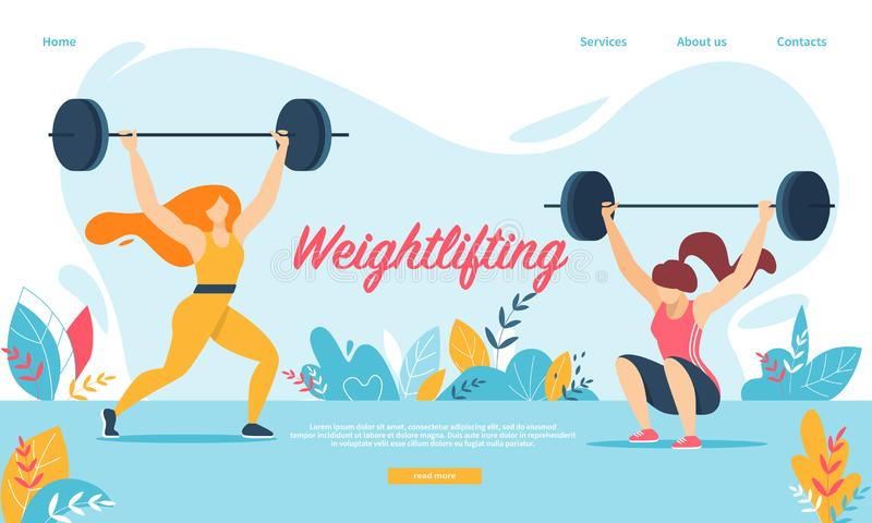 Weightlifting Sport. Women Squatting with Weight, stock illustration