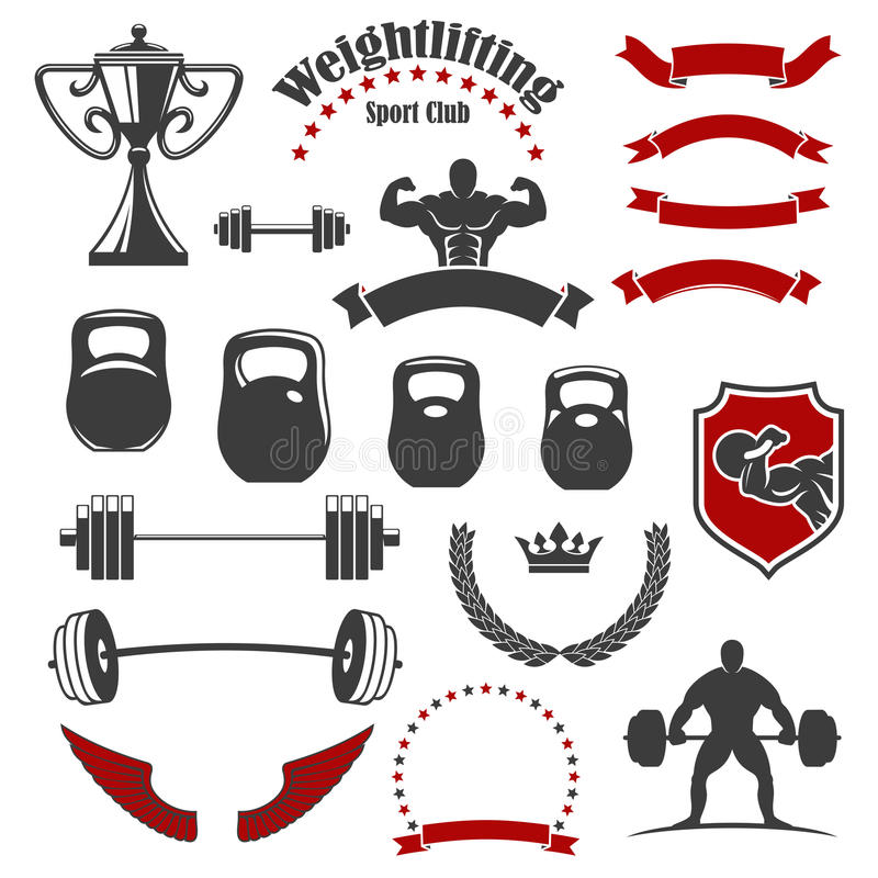 Weightlifting sporta klubu odosobnione ikony dla emblemata ilustracji