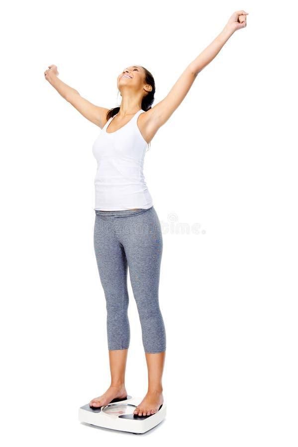 Weightloss缩放比例妇女 库存图片