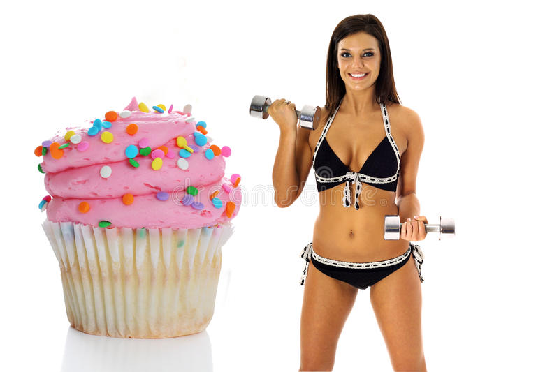 Weightloss cupcake royalty-vrije stock fotografie