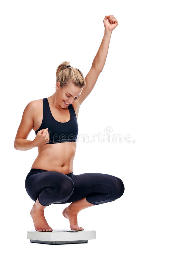 Free Weightloss Scale Woman Royalty Free Stock Photography - 49161447