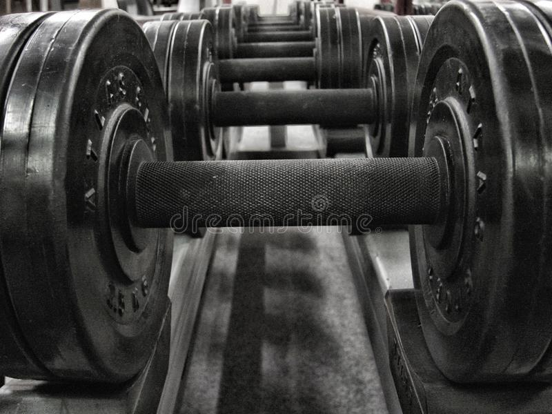 Weights in a fitness studio, hdr royalty free stock photography